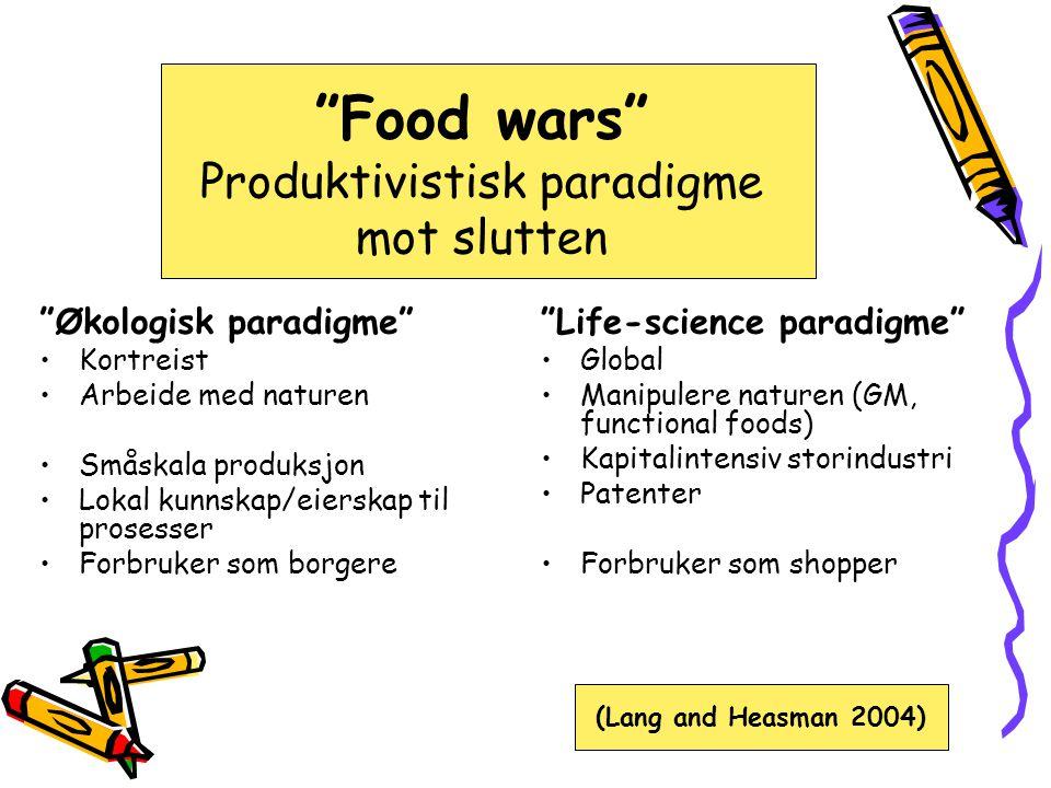 Food wars Produktivistisk paradigme mot slutten Økologisk paradigme •Kortreist •Arbeide med naturen •Småskala produksjon •Lokal kunnskap/eierskap til prosesser •Forbruker som borgere Life-science paradigme •Global •Manipulere naturen (GM, functional foods) •Kapitalintensiv storindustri •Patenter •Forbruker som shopper (Lang and Heasman 2004)