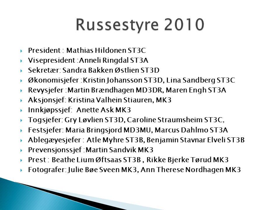  President : Mathias Hildonen ST3C  Visepresident :Anneli Ringdal ST3A  Sekretær: Sandra Bakken Østlien ST3D  Økonomisjefer :Kristin Johansson ST3