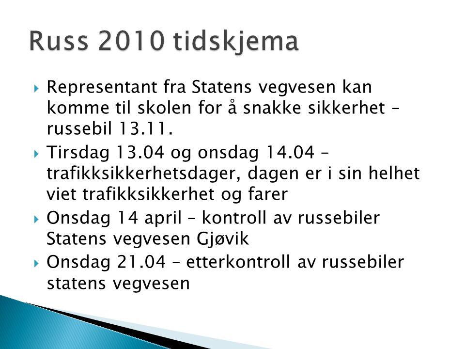  Representant fra Statens vegvesen kan komme til skolen for å snakke sikkerhet – russebil 13.11.  Tirsdag 13.04 og onsdag 14.04 – trafikksikkerhetsd