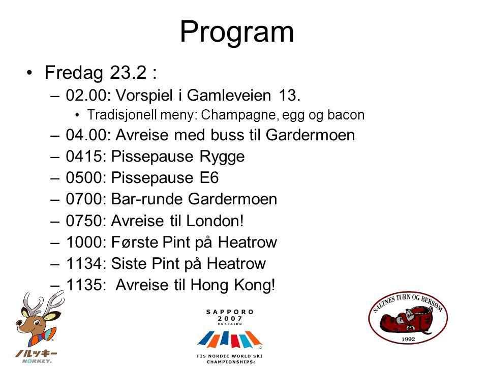 Program •Fredag 23.2 : –02.00: Vorspiel i Gamleveien 13.