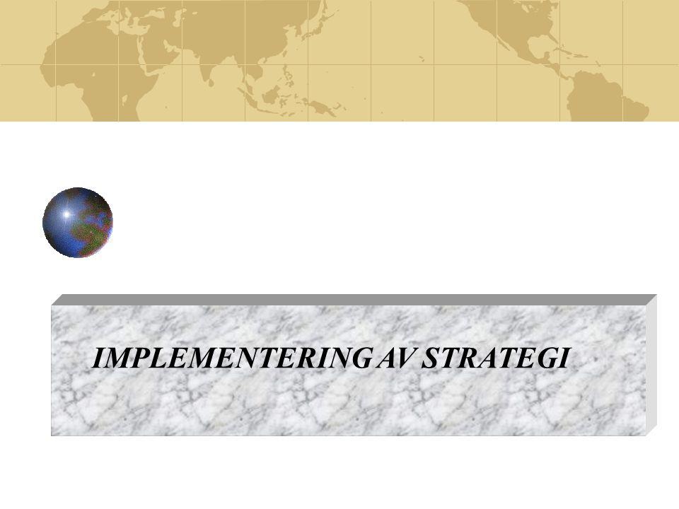 Implementering av Strategi  Strategien vår er ikke vellykket, hvis den ikke blir implementert og retningsgivende for hele virksomheten.