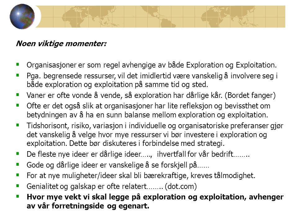 Noen viktige momenter:  Organisasjoner er som regel avhengige av både Exploration og Exploitation.