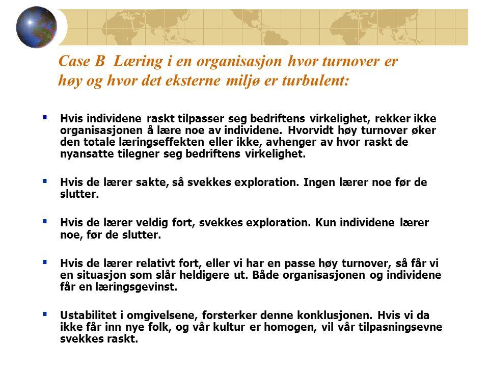 Case B Læring i en organisasjon hvor turnover er høy og hvor det eksterne miljø er turbulent:  Hvis individene raskt tilpasser seg bedriftens virkelighet, rekker ikke organisasjonen å lære noe av individene.