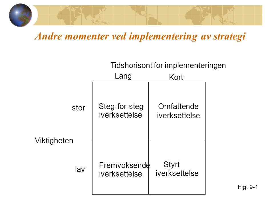 Andre momenter ved implementering av strategi Viktigheten lav stor Tidshorisont for implementeringen Lang Kort Steg-for-steg iverksettelse Omfattende iverksettelse Fremvoksende iverksettelse Styrt iverksettelse Fig.