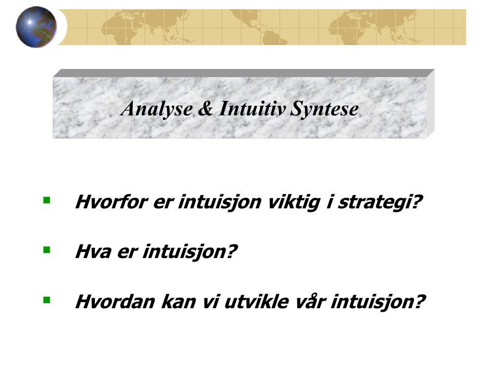  Hvorfor er intuisjon viktig i strategi. Hva er intuisjon.