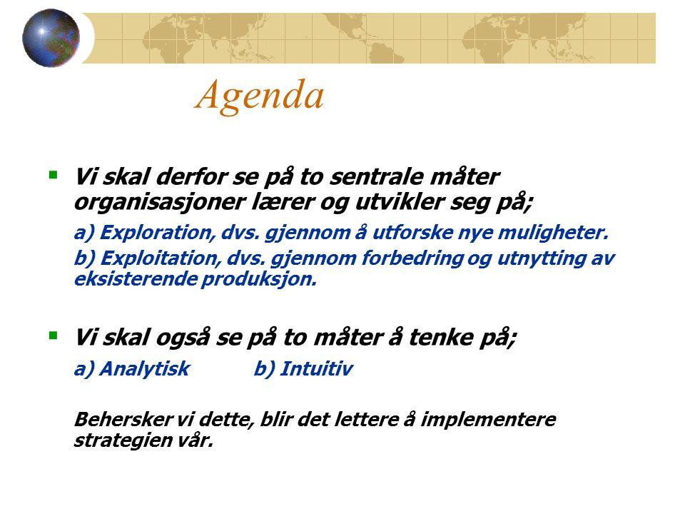 Agenda  Vi skal derfor se på to sentrale måter organisasjoner lærer og utvikler seg på; a) Exploration, dvs.