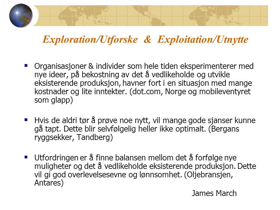 Exploration/Utforske & Exploitation/Utnytte  Organisasjoner & individer som hele tiden eksperimenterer med nye ideer, på bekostning av det å vedlikeholde og utvikle eksisterende produksjon, havner fort i en situasjon med mange kostnader og lite inntekter.