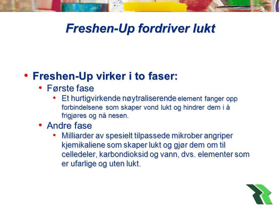 Freshen-Up fordriver lukt • Freshen-Up virker i to faser: • Første fase • Et hurtigvirkende nøytraliserende element fanger opp forbindelsene som skaper vond lukt og hindrer dem i å frigjøres og nå nesen.
