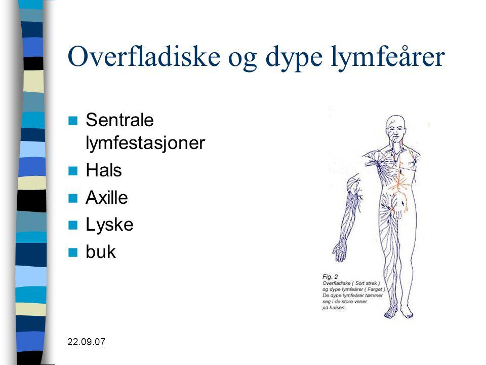 22.09.07 Overfladiske og dype lymfeårer  Sentrale lymfestasjoner  Hals  Axille  Lyske  buk