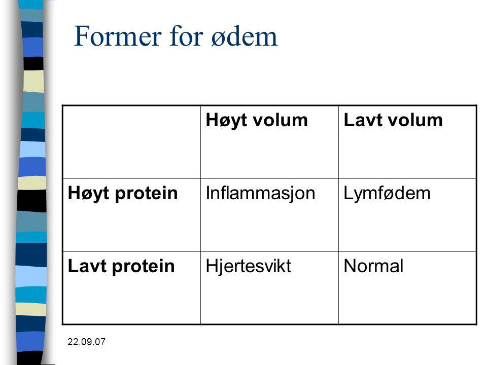 22.09.07 Former for ødem Høyt volumLavt volum Høyt proteinInflammasjonLymfødem Lavt proteinHjertesviktNormal