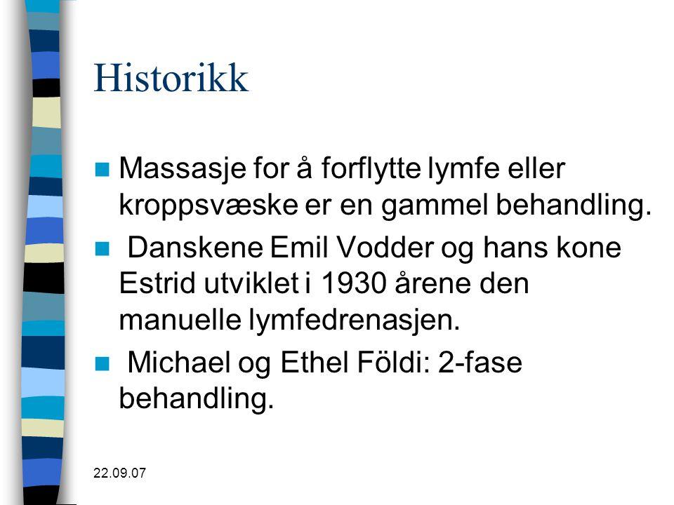 22.09.07 Historikk  Massasje for å forflytte lymfe eller kroppsvæske er en gammel behandling.  Danskene Emil Vodder og hans kone Estrid utviklet i 1