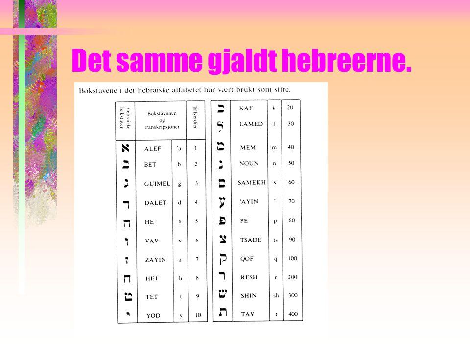 Bokstaver som tallsymboler. Noen kulturer hadde ikke egne symboler for tall og brukte bokstaver fra alfabetet. Grekerne gjorde det: