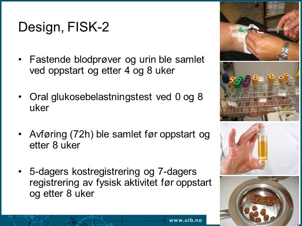 Design, FISK-2 •Fastende blodprøver og urin ble samlet ved oppstart og etter 4 og 8 uker •Oral glukosebelastningstest ved 0 og 8 uker •Avføring (72h)