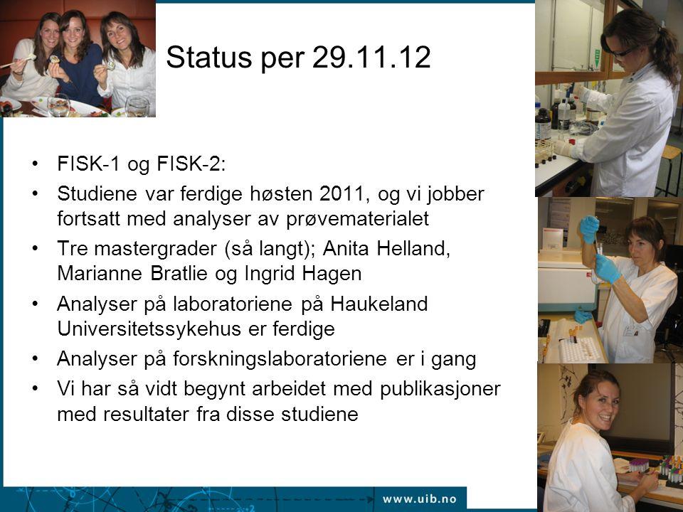Status per 29.11.12 •FISK-1 og FISK-2: •Studiene var ferdige høsten 2011, og vi jobber fortsatt med analyser av prøvematerialet •Tre mastergrader (så langt); Anita Helland, Marianne Bratlie og Ingrid Hagen •Analyser på laboratoriene på Haukeland Universitetssykehus er ferdige •Analyser på forskningslaboratoriene er i gang •Vi har så vidt begynt arbeidet med publikasjoner med resultater fra disse studiene