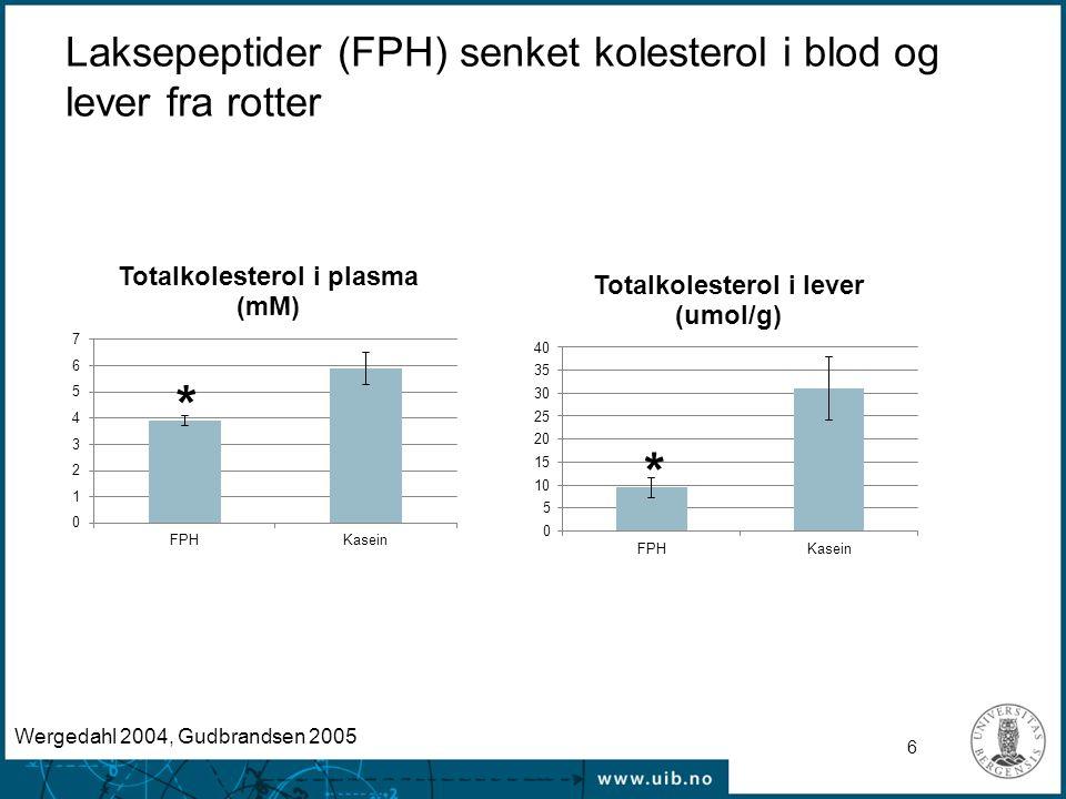 6 Laksepeptider (FPH) senket kolesterol i blod og lever fra rotter * * Wergedahl 2004, Gudbrandsen 2005