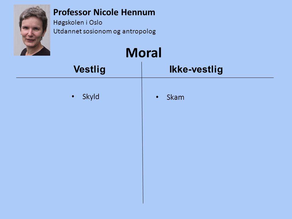 Moral • Skyld • Skam Vestlig Ikke-vestlig Professor Nicole Hennum Høgskolen i Oslo Utdannet sosionom og antropolog