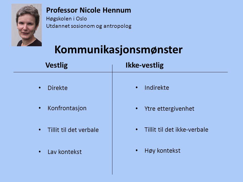 Kommunikasjonsmønster • Direkte • Konfrontasjon • Tillit til det verbale • Lav kontekst • Indirekte • Ytre ettergivenhet • Tillit til det ikke-verbale