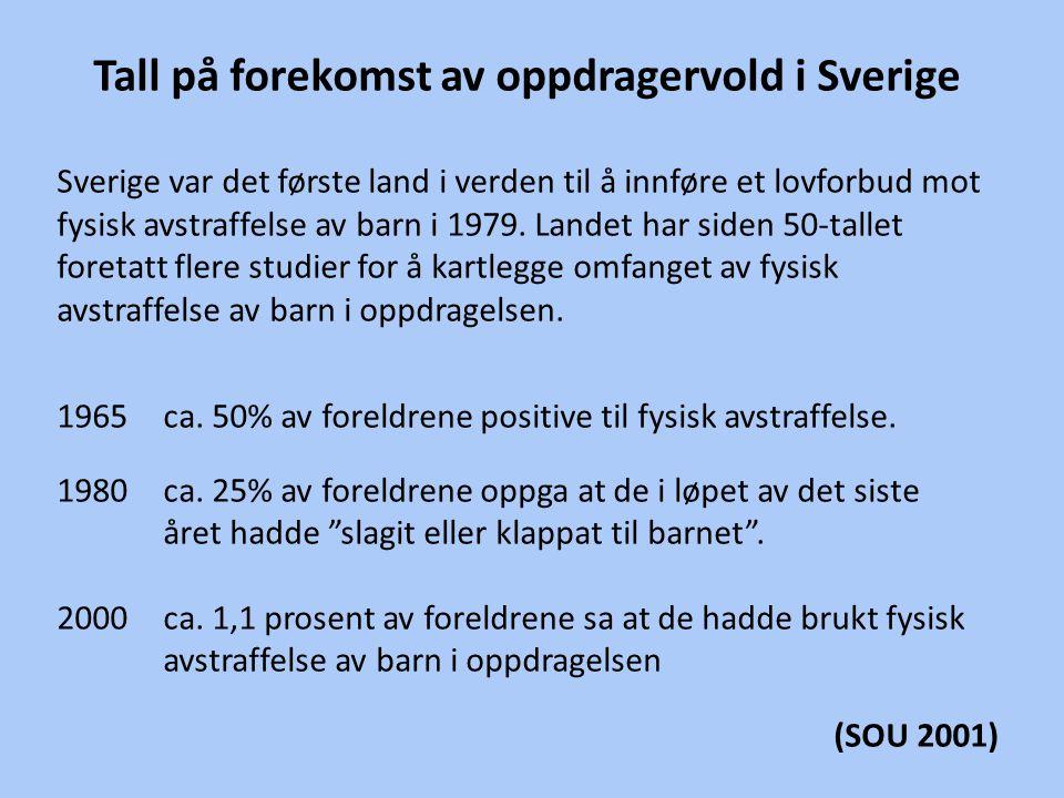 Tall på forekomst av oppdragervold i Sverige Sverige var det første land i verden til å innføre et lovforbud mot fysisk avstraffelse av barn i 1979. L
