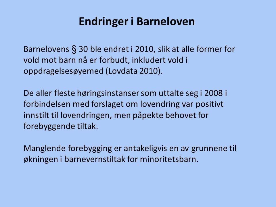Endringer i Barneloven Barnelovens § 30 ble endret i 2010, slik at alle former for vold mot barn nå er forbudt, inkludert vold i oppdragelsesøyemed (Lovdata 2010).