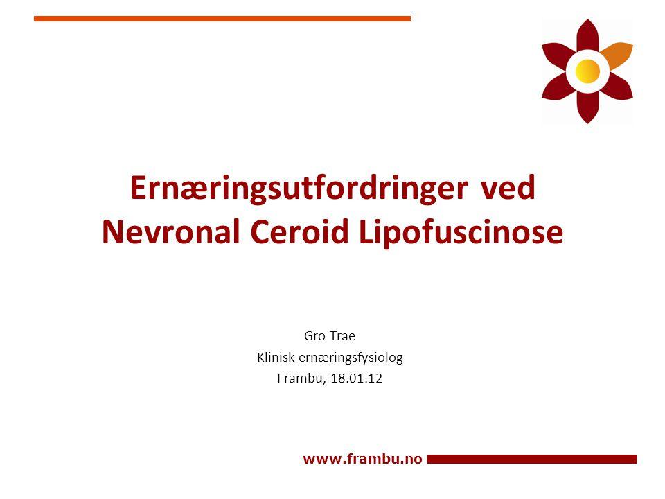www.frambu.no Ernæringsutfordringer ved Nevronal Ceroid Lipofuscinose Gro Trae Klinisk ernæringsfysiolog Frambu, 18.01.12