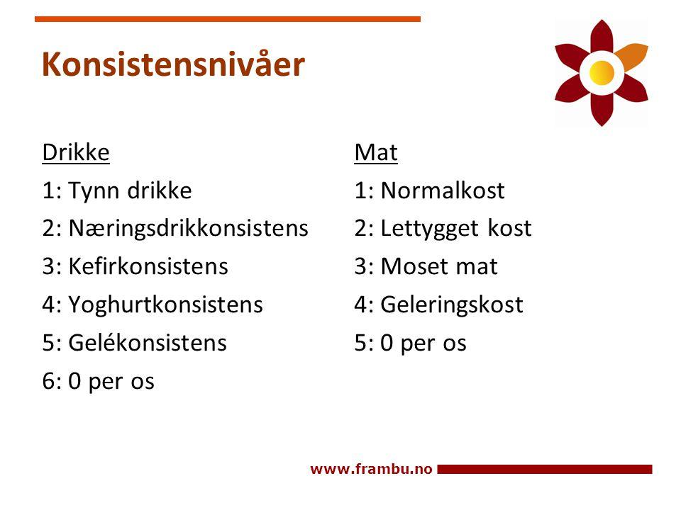 www.frambu.no Konsistensnivåer Drikke 1: Tynn drikke 2: Næringsdrikkonsistens 3: Kefirkonsistens 4: Yoghurtkonsistens 5: Gelékonsistens 6: 0 per os Ma