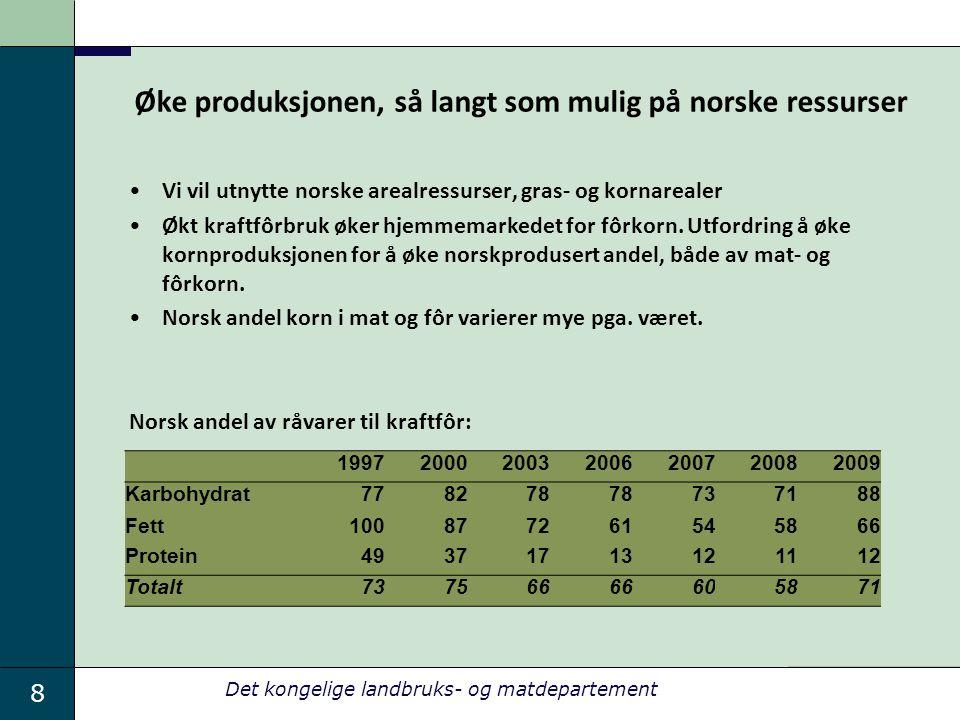 8 Det kongelige landbruks- og matdepartement Øke produksjonen, så langt som mulig på norske ressurser •Vi vil utnytte norske arealressurser, gras- og kornarealer •Økt kraftfôrbruk øker hjemmemarkedet for fôrkorn.