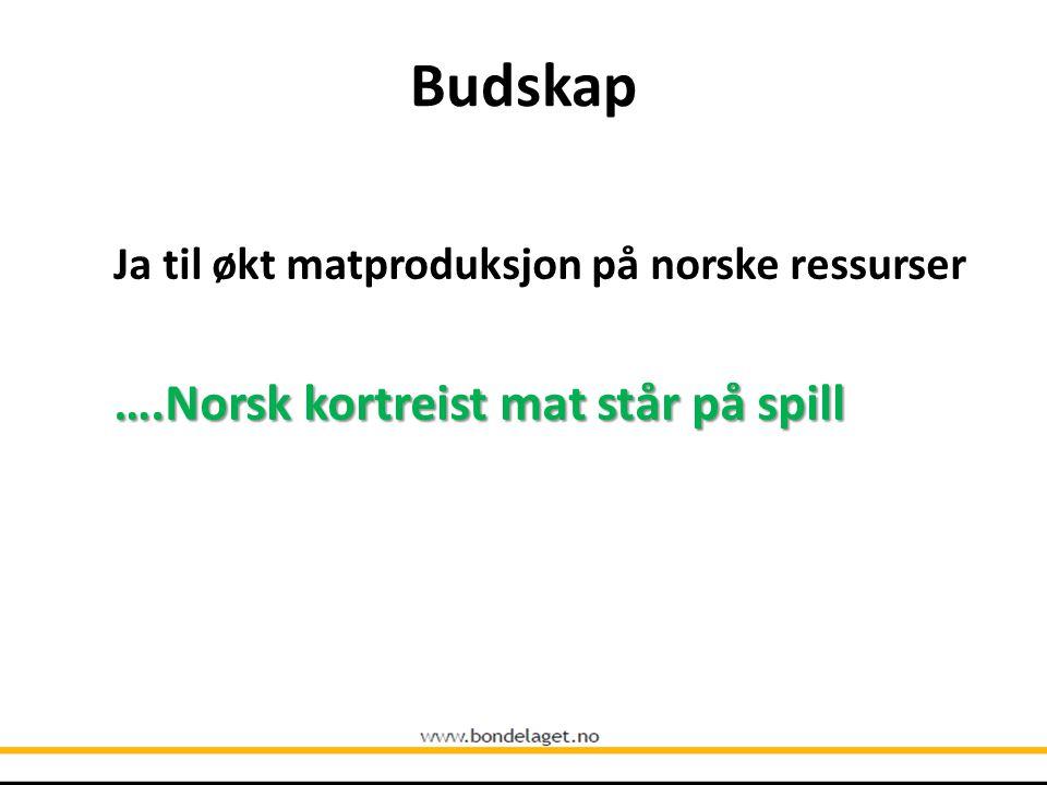 Budskap Ja til økt matproduksjon på norske ressurser ….Norsk kortreist mat står på spill