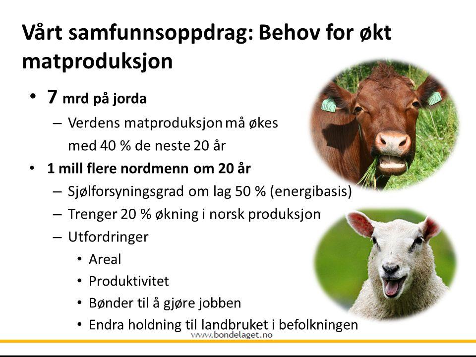 Vårt samfunnsoppdrag: Behov for økt matproduksjon • 7 mrd på jorda – Verdens matproduksjon må økes med 40 % de neste 20 år • 1 mill flere nordmenn om 20 år – Sjølforsyningsgrad om lag 50 % (energibasis) – Trenger 20 % økning i norsk produksjon – Utfordringer • Areal • Produktivitet • Bønder til å gjøre jobben • Endra holdning til landbruket i befolkningen
