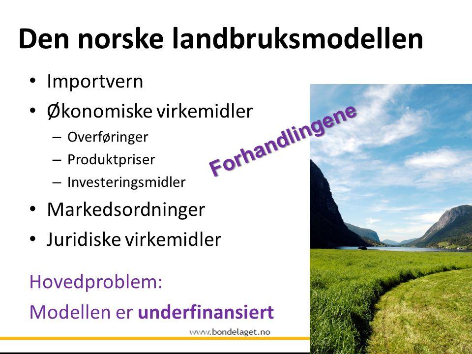 Den norske landbruksmodellen • Importvern • Økonomiske virkemidler – Overføringer – Produktpriser – Investeringsmidler • Markedsordninger • Juridiske
