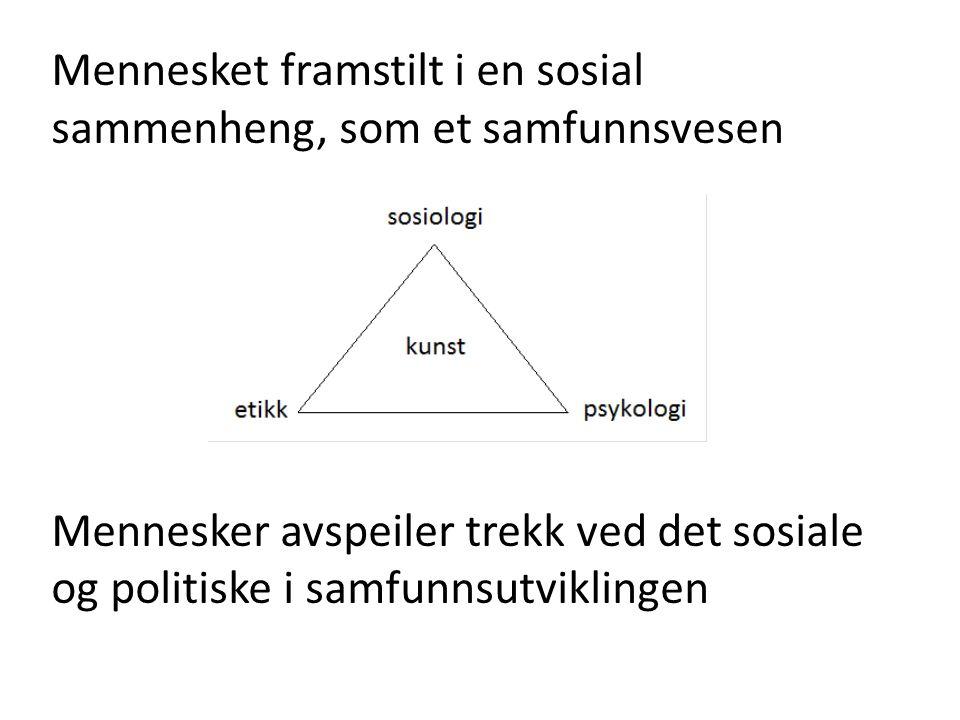 Mennesket framstilt i en sosial sammenheng, som et samfunnsvesen Mennesker avspeiler trekk ved det sosiale og politiske i samfunnsutviklingen