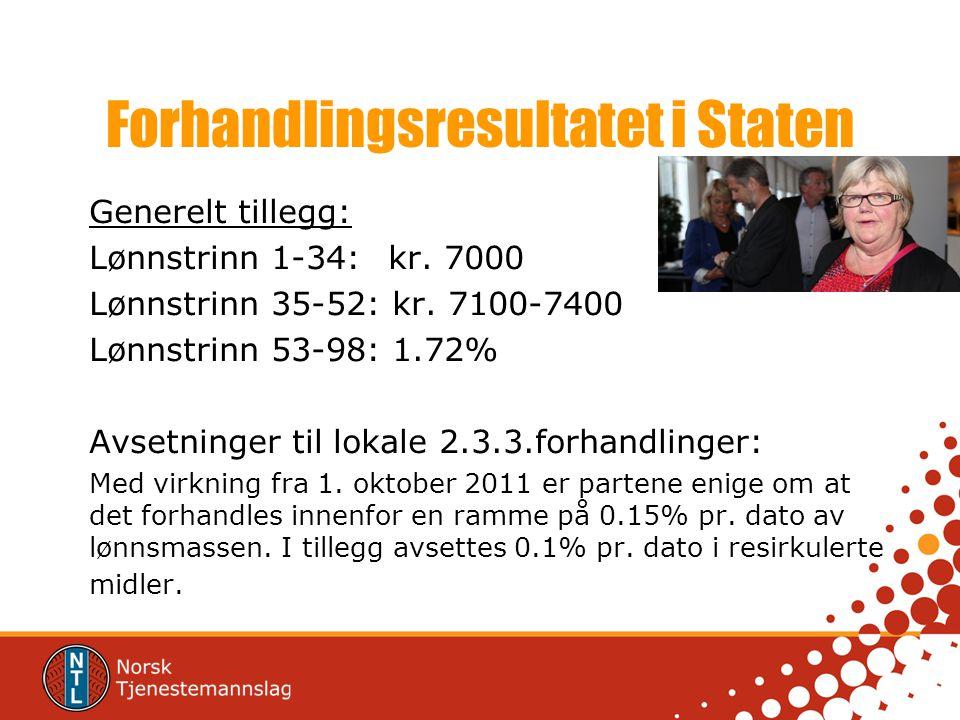 Forhandlingsresultatet i Staten Generelt tillegg: Lønnstrinn 1-34: kr.
