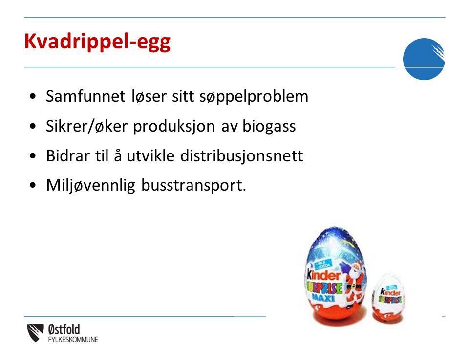 Kvadrippel-egg •Samfunnet løser sitt søppelproblem •Sikrer/øker produksjon av biogass •Bidrar til å utvikle distribusjonsnett •Miljøvennlig busstransp