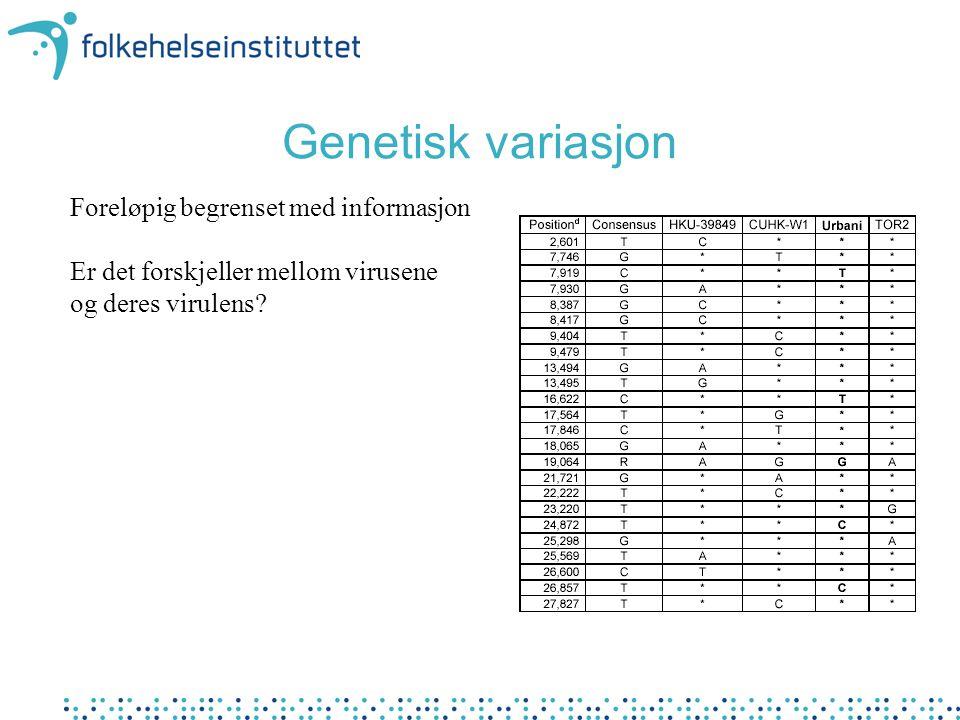 Genetisk variasjon Foreløpig begrenset med informasjon Er det forskjeller mellom virusene og deres virulens?