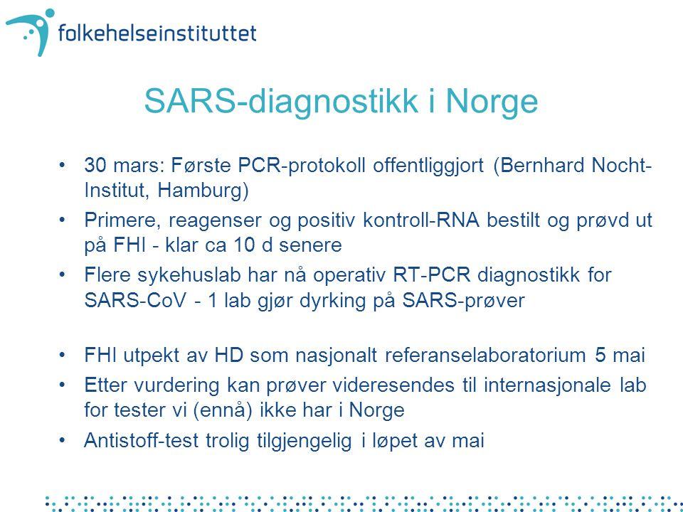 SARS-diagnostikk i Norge •30 mars: Første PCR-protokoll offentliggjort (Bernhard Nocht- Institut, Hamburg) •Primere, reagenser og positiv kontroll-RNA