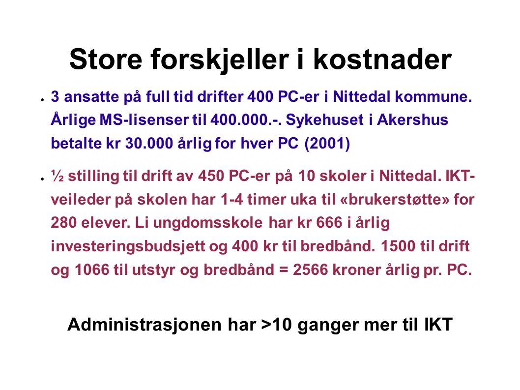 Store forskjeller i kostnader ● 3 ansatte på full tid drifter 400 PC-er i Nittedal kommune.