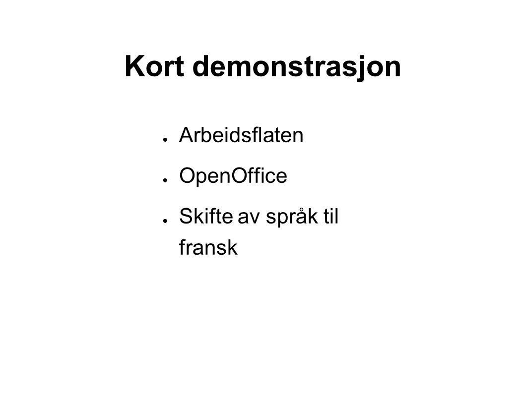 Kort demonstrasjon ● Arbeidsflaten ● OpenOffice ● Skifte av språk til fransk