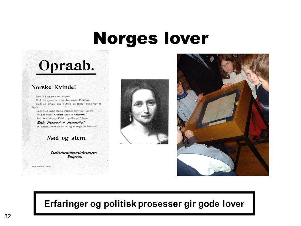 Norges lover Erfaringer og politisk prosesser gir gode lover 32
