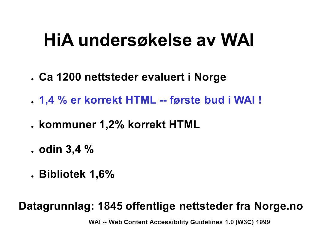WAI -- Web Content Accessibility Guidelines 1.0 (W3C) 1999 HiA undersøkelse av WAI ● Ca 1200 nettsteder evaluert i Norge ● 1,4 % er korrekt HTML -- første bud i WAI .