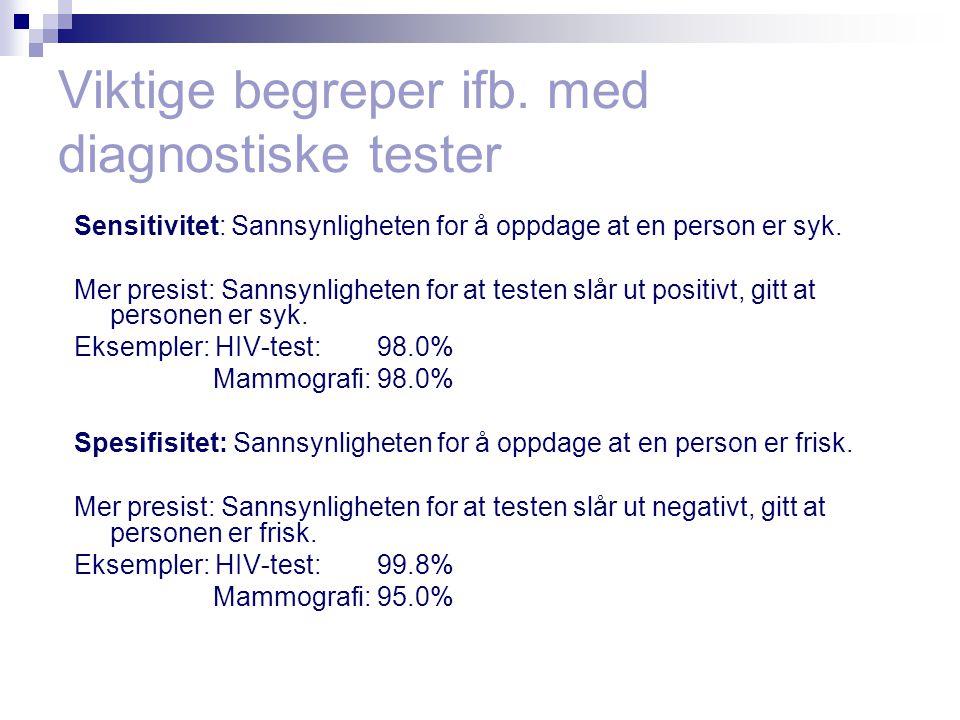 Viktige begreper ifb. med diagnostiske tester Sensitivitet: Sannsynligheten for å oppdage at en person er syk. Mer presist: Sannsynligheten for at tes