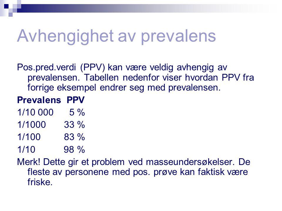 Avhengighet av prevalens Pos.pred.verdi (PPV) kan være veldig avhengig av prevalensen.