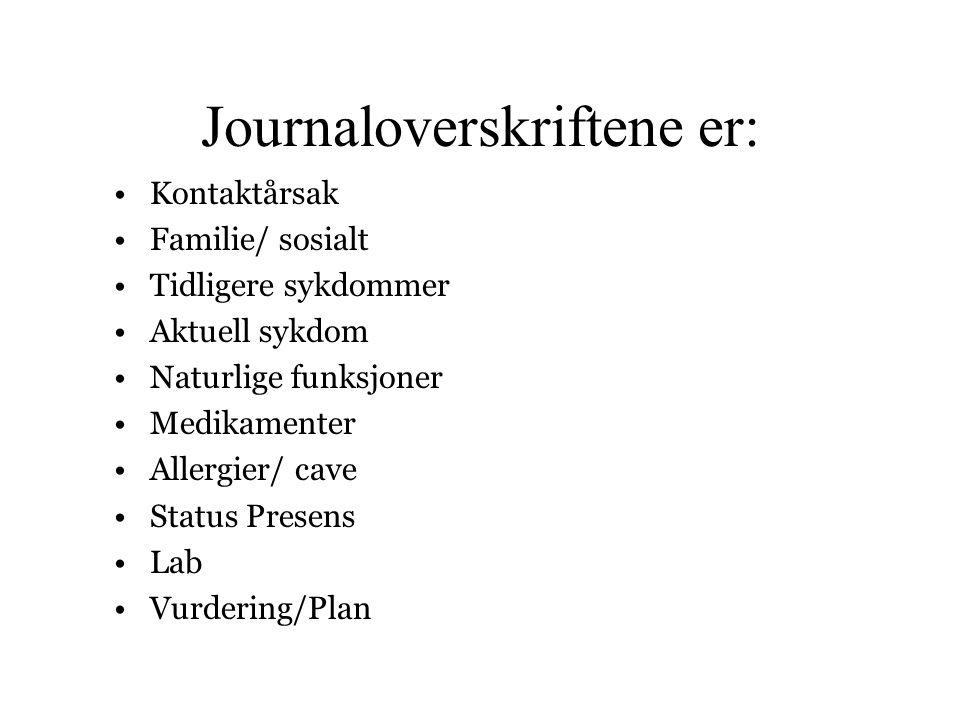 Journaloverskriftene er: •Kontaktårsak •Familie/ sosialt •Tidligere sykdommer •Aktuell sykdom •Naturlige funksjoner •Medikamenter •Allergier/ cave •St