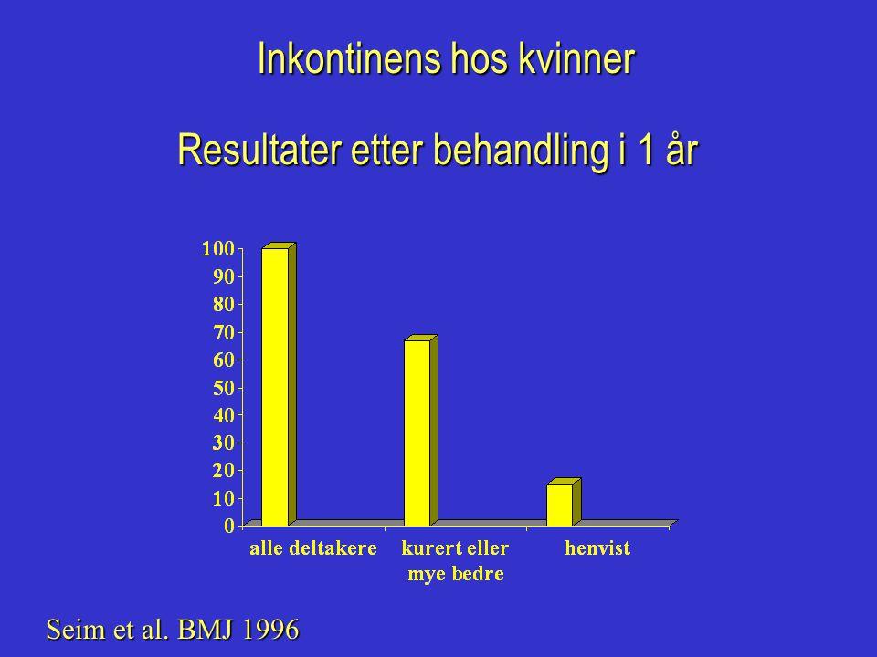 Inkontinens hos kvinner Resultater etter behandling i 1 år Seim et al. BMJ 1996
