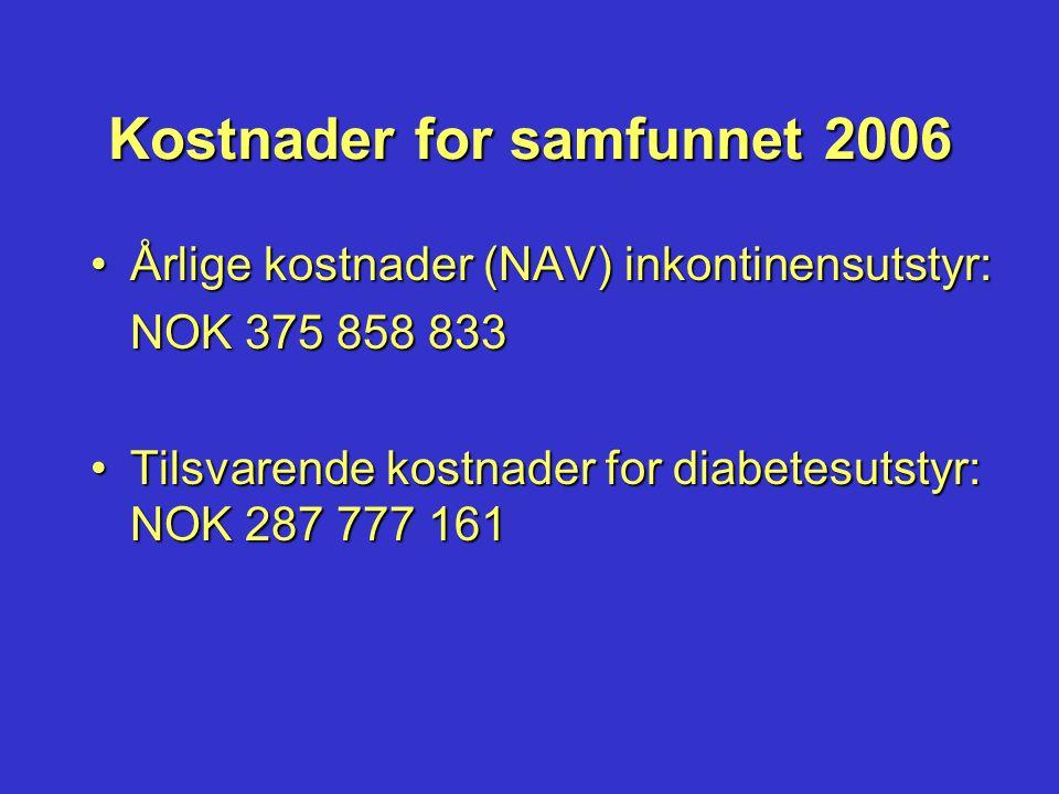 Kostnader for samfunnet 2006 •Årlige kostnader (NAV) inkontinensutstyr: NOK 375 858 833 •Tilsvarende kostnader for diabetesutstyr: NOK 287 777 161
