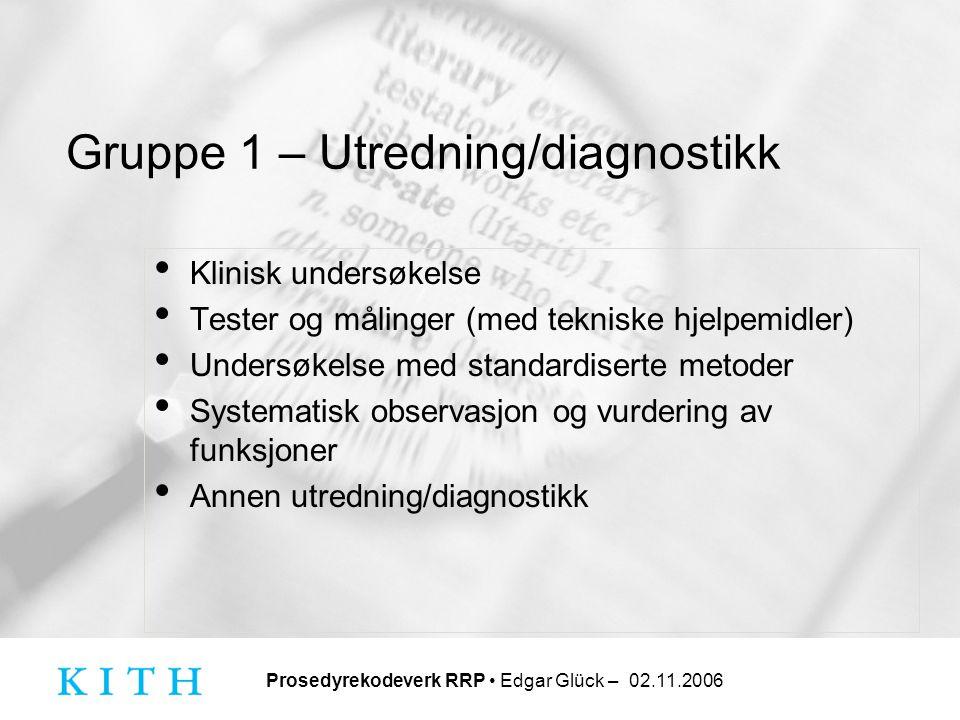 Prosedyrekodeverk RRP • Edgar Glück – 02.11.2006 Gruppe 1 – Utredning/diagnostikk • Klinisk undersøkelse • Tester og målinger (med tekniske hjelpemidl