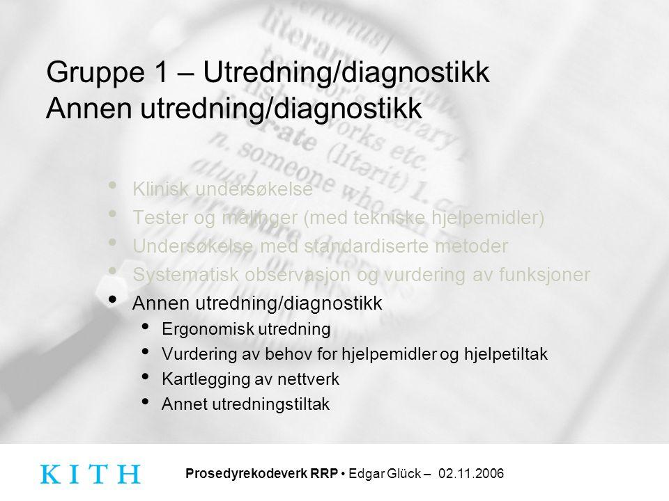 Prosedyrekodeverk RRP • Edgar Glück – 02.11.2006 Gruppe 1 – Utredning/diagnostikk Annen utredning/diagnostikk • Klinisk undersøkelse • Tester og målin