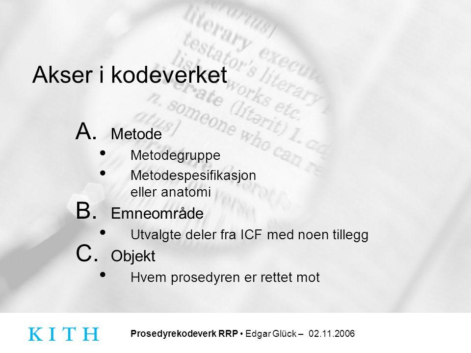 Prosedyrekodeverk RRP • Edgar Glück – 02.11.2006 Akser i kodeverket A. Metode • Metodegruppe • Metodespesifikasjon eller anatomi B. Emneområde • Utval