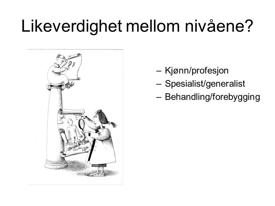 Likeverdighet mellom nivåene? –Kjønn/profesjon –Spesialist/generalist –Behandling/forebygging