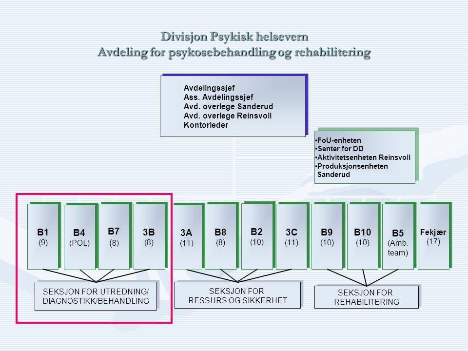 Divisjon Psykisk helsevern Avdeling for psykosebehandling og rehabilitering SEKSJON FOR UTREDNING/ DIAGNOSTIKK/BEHANDLING SEKSJON FOR UTREDNING/ DIAGNOSTIKK/BEHANDLING