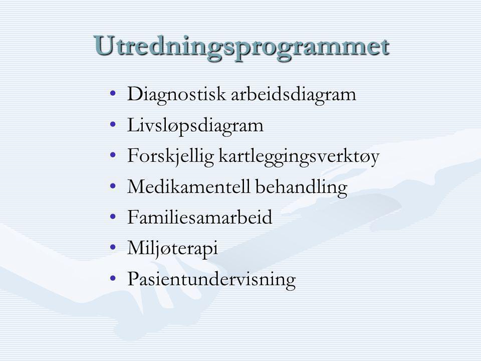 Utredningsprogrammet •Diagnostisk arbeidsdiagram •Livsløpsdiagram •Forskjellig kartleggingsverktøy •Medikamentell behandling •Familiesamarbeid •Miljøterapi •Pasientundervisning
