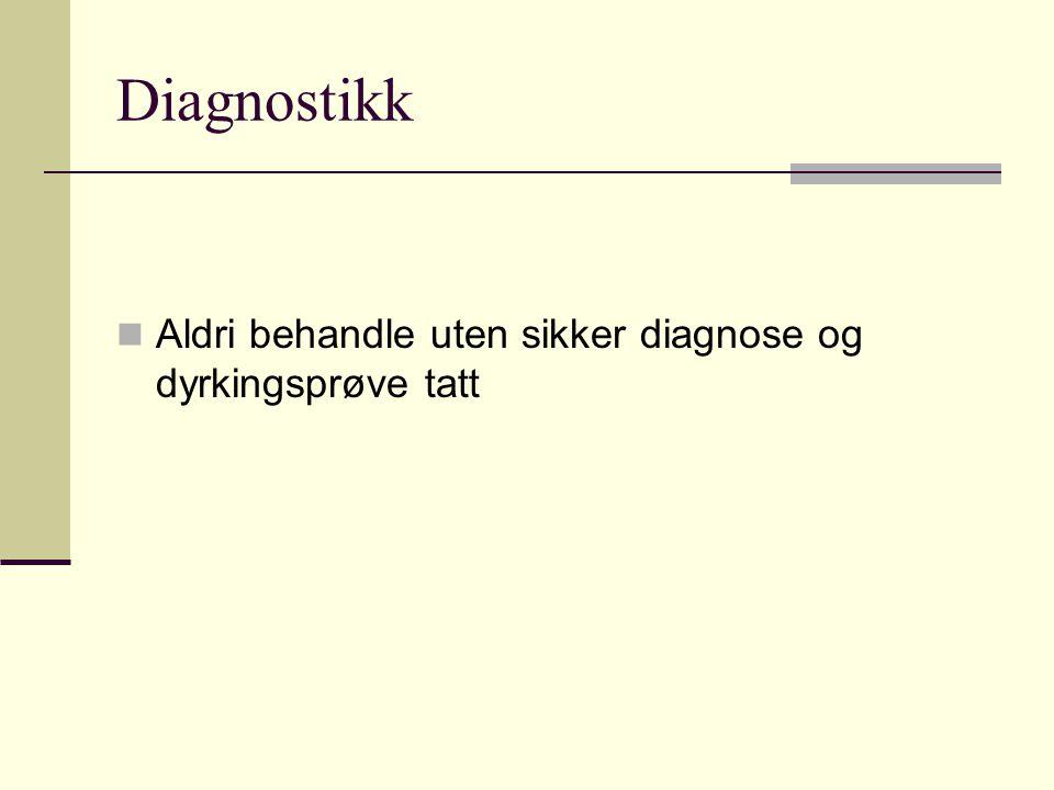 Diagnostikk  Aldri behandle uten sikker diagnose og dyrkingsprøve tatt